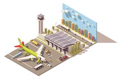Vector isometric low poly airport terminal building with airplane and Ground Stock Illustration