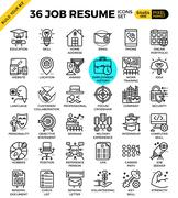 Job Resume Icons - stock illustration