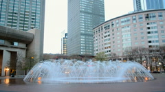 Prudential Tower (Prudential Building), fountain, skyscrapers in Boston, USA Stock Footage