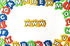 Puzzle www on white background Stock Photos