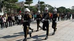 TAIPEI - Guards at Taipei Martyr's Shrine Stock Footage