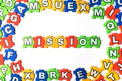 Puzzle mission on white background Stock Photos