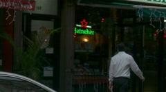 Italian Waiter in Little Italy, New York City Stock Footage