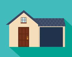 Family House. Home icon with door and windows, graphic design Stock Illustration