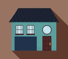 Family House. Home icon with door and windows, graphic design - stock illustration
