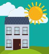 Family House. Home icon. landscape illustration, graphic design Stock Illustration