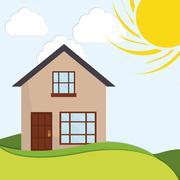 Family House. Home icon. landscape illustration, graphic design - stock illustration