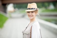 Young happy woman headshot portrait - stock photo