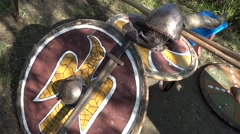Replica of medieval knight military hardware - stock footage