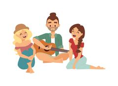 Guitar song vector illustration - stock illustration