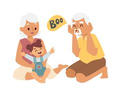 Grandfather, grandmother and granddaughter vector illustration Stock Illustration
