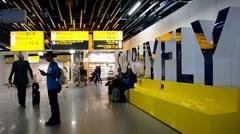 Renewed Amsterdam Airport Schiphol in Amsterdam, Netherlands. Stock Footage