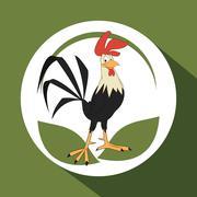 Animal design. rooster icon. Isolated illustration, white backgr Stock Illustration
