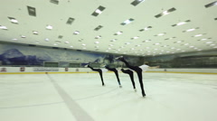 RUSSIA, MOSCOW - APRIL 17, 2016: Athletes Figure Skating preparing for the Stock Footage