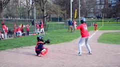 Baseball kids playing in Boston Public Garden in Boston, Massachusetts, USA. Stock Footage