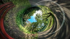 360Vr Video Bench by Park Alley Street Lamp Road in Park is Marked Dark Red Stock Footage