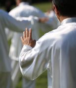 Hand of martial arts master Tai Chi with many followers Kuvituskuvat