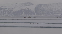 Inuit hunting camp at ice edge with mountains in background Stock Footage