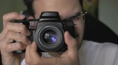 4K Photographer Photographing With DSLR Camera - stock footage