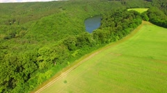 Aerial over small pond and meadow. Stock Footage