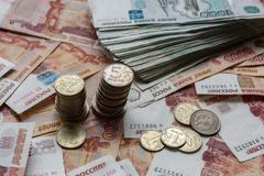 Ruble banknotes and coins Stock Photos