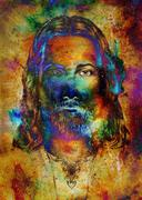 Jesus Christ painting with radiant colorful energy of light, eye contact Stock Illustration