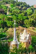 Barcelona, Spain - May 1, 2015: Barcelona Attractions, Park Guell by architec Stock Photos