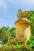 Barcelona Attractions, Labyrinth Park of Horta in Barcelona, Sculpture in the - stock photo