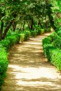 Barcelona Attractions, Labyrinth Park of Horta in Barcelona, Path in the Park Stock Photos