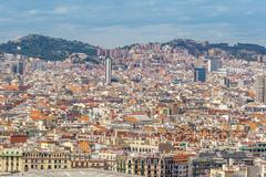Barcelona Attractions, Cityscape of Barcelona, Catalonia, Spain. - stock photo