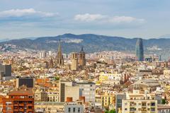 Barcelona Attractions, Cityscape of Barcelona, Catalonia, Spain. Stock Photos