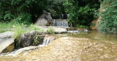 Moving shot of the waterfall at the Japanese garden in Düsseldorf (Germany) Stock Footage