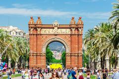 Barcelona, Spain - May 3, 2015: Barcelona Attractions, Triumph Arch of Barcel - stock photo