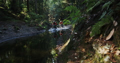 Tracking Shot Of Mountain Bikers Going Through Stream In Green Rain Forrest Stock Footage