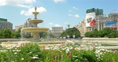 Union Square Fountain And House Of The People Or Parliament Palace - stock footage