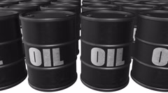 "Looped animated background with black barrels with text ""oil"". Stock Footage"