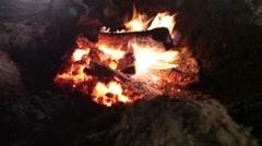Bonfire. Burning firewood. Night Stock Footage
