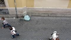Lungaretta street, people walking in Trastevere pedestrian area, Rome Stock Footage