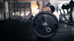 Young Male Athlete Exercising With A Barbell. Deadlifts Stock Footage
