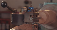 Lathe processing wood Stock Footage