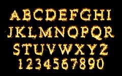 Fire font collection, alphabet of flame. - stock illustration