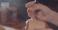 Wood pyrography close up Stock Footage
