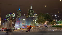 Melbourne Federation Square Night Motion Time-lapse (Hyperlapse) Stock Footage