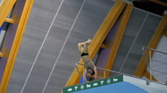 KAZAN, RUSSIA - 27.04.2015: FINA. Man jumps into the pool. Stock Footage