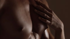 Woman love abs. Touch from profile Stock Footage