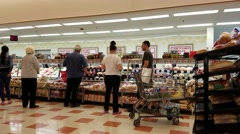 4K Supermarket cold cuts deli counter Stock Footage