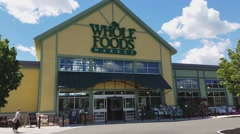 4K Whole Foods market grocery store customer Stock Footage