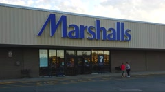 4K Marshalls department store entrance Stock Footage