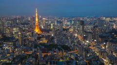 4K Day to Night Timelapse of Aerial view Tokyo Tower cityscape in Japan - stock footage