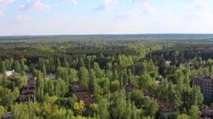 Pripyat, Kurchatov street, Lenin Avenue. aerial view. Stock Footage